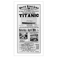 Poster advertising the voyage of the Titanic from Framed Print