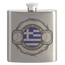 Greece Baseball Flask