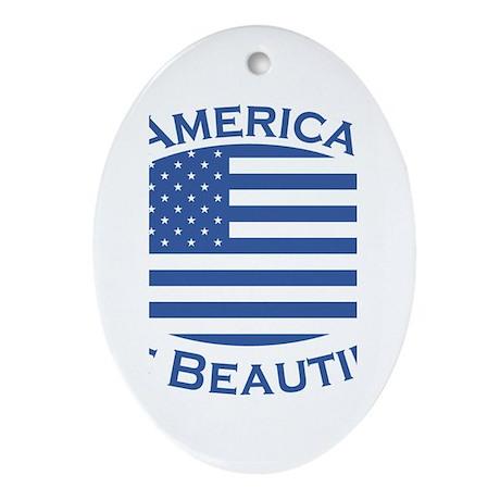 America the Beautiful-blue Oval Ornament