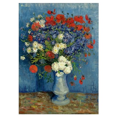 Still Life: Vase with Cornflowers and Poppies, 188 Poster
