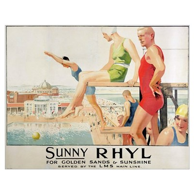 Poster advertising Sunny Rhyl (colour litho) Poster