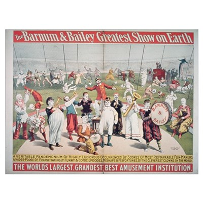 Poster advertising the Barnum and Bailey Greatest Canvas Art