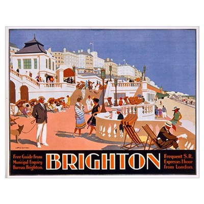 Poster advertising travel to Brighton (colour lith Poster