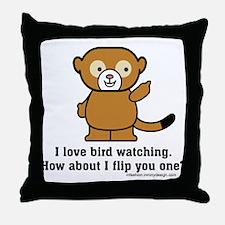 Happy Monkey - Bird Flipping Throw Pillow