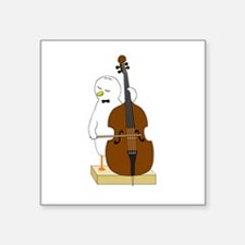 """Double Bass Player Square Sticker 3"""" x 3"""""""