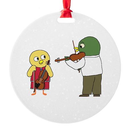 Violin Lesson Round Ornament