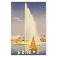 Advertisement for travel to Geneva, c.1937 (colour Poster
