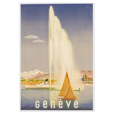 Advertisement for travel to Geneva, c.1937 (colour Framed Print