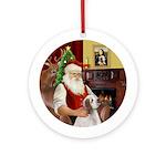 Santa & his Clumber Spaniel Ornament (Round)