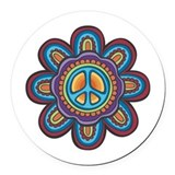Hippie peace sign Round Car Magnets