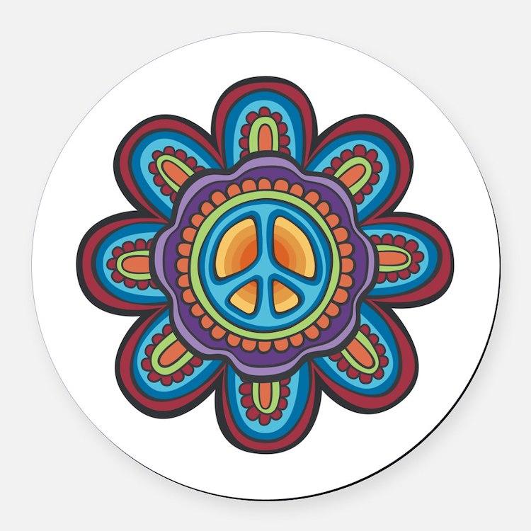Hippie Peace Flower Round Car Magnet