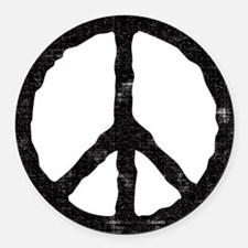 peace_v.png Round Car Magnet
