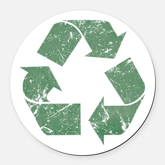 recycle_vintage.png Round Car Magnet