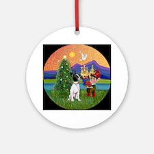XmasFantasy-Chihuahua (BW) Ornament (Round)