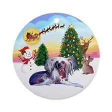 The Take Off - Chinese Crested Ornament (Round)