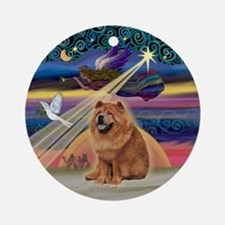 XmasAngel-Red Chow Chow (ms) Ornament (Round)