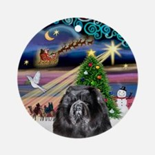 XmasMagic-Black Chow Ornament (Round)