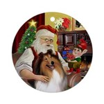 Santa's Sable and White Collie Ornament (Round)