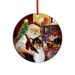 Santa's Tri Color Collie Ornament (Round)