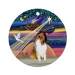 XmasAngel-Sable & White Collie Ornament (Round