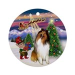 Take Off-Sable & White Collie Ornament (Round)