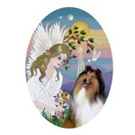 Angel Loving a Collie Ornament (Oval)