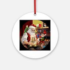 Santa's Dandi Dinmont (m) Ornament (Round)