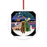 Xmas Magic-Airedale Ornament (Round)