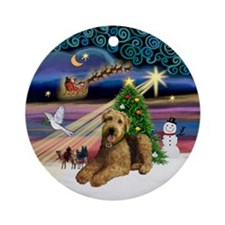 Xmas Magic-Airedale #5 Ornament (Round)