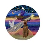 Xmas Star-Airedale Ornament (Round)