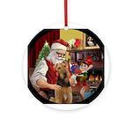 Santa's Airedale Ornament (Round)