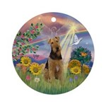 Cloud Angel-Airedale Ornament (Round)