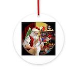 Santa and his Akita/Akita Inu Ornament (Round)