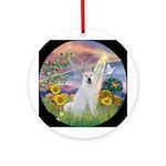 Cloud Angel - Akita Ornament (Round)