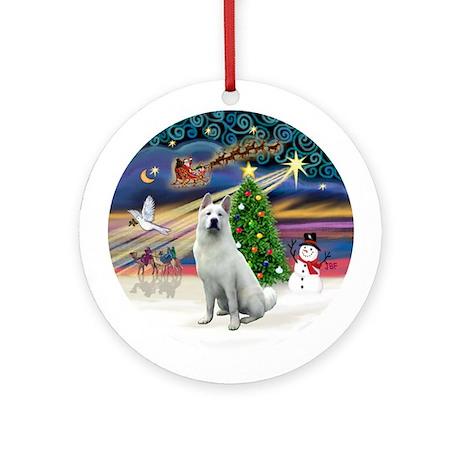 XmasMagic-White Akita Ornament (Round)