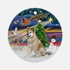 Xmas Magic-Akita Ornament (Round)