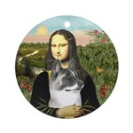 Mona Lisa's Akita (Blk Mask) Ornament (Round)