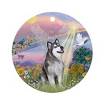 Cloud Angel-Alaskan Malamute (bl) Ornament (Round)