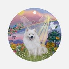 Cloud Angel-Amer Eskimo Dog Ornament (Round)