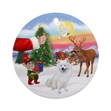 Treat for an Amer Eskimo Dog Ornament (Round)