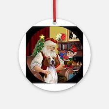 Santa's Amer Foxhound Ornament (Round)