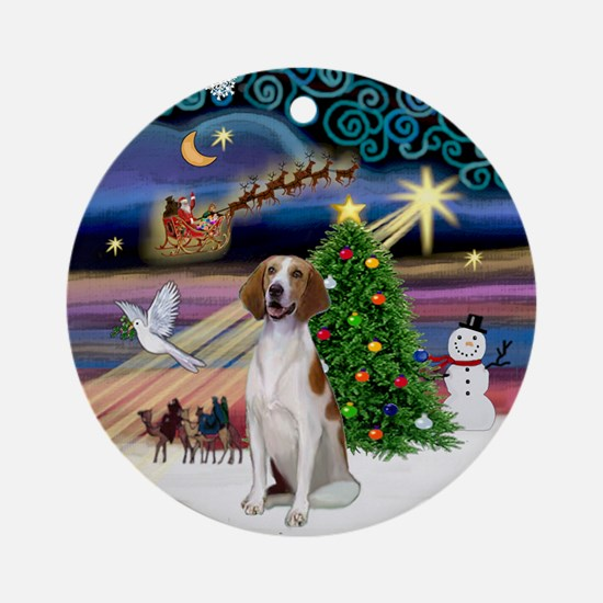 XmasMagic-Amer Foxhound Ornament (Round)