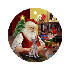 Santa's Amer Hairless T Ornament (Round)