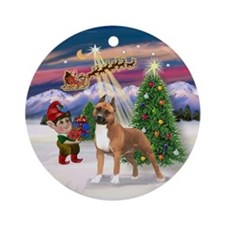 The Take Off-AmStaffordshire Ornament (Round)