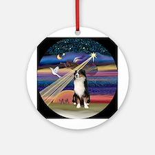 XmasAngel- Tri Australian Shep Ornament (Round)