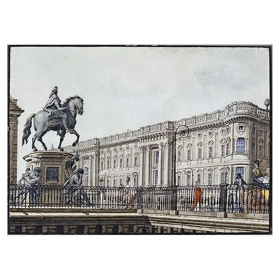 The long bridge with an aristocratic monument (pen Poster