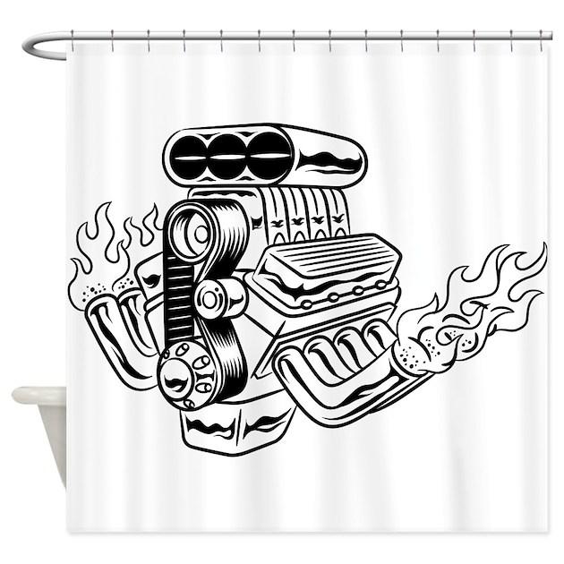 Hot Rod Engine Shower Curtain By Thefantasticshirtandmoreshop