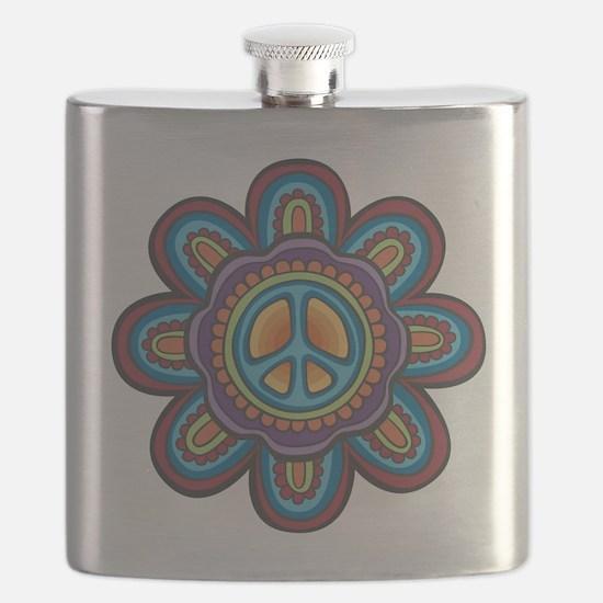 Hippie Peace Flower Flask