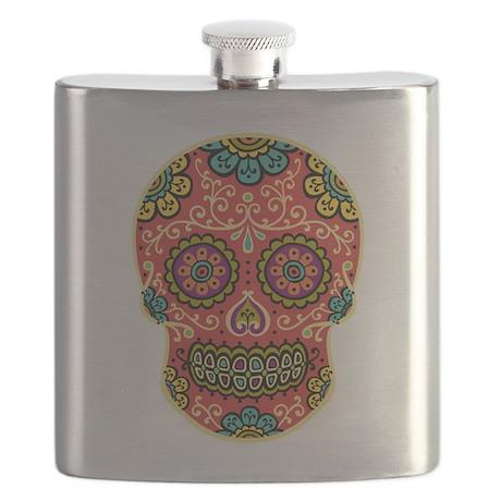 Red Sugar Skull Flask