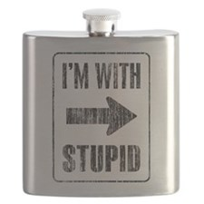 Vintage I'm With Stupid [r] Flask